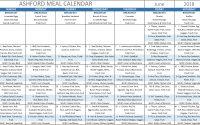 Ashford Meal Calendar June